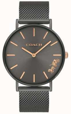 Coach Женские перья серый ip стальной сетчатый браслет смотреть 14503127