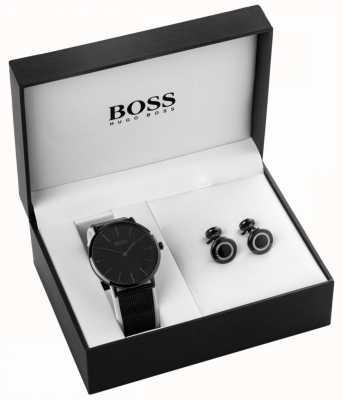Hugo Boss Мужские часы с черным ионом и комплект запонки 1570067
