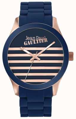 Jean Paul Gaultier Enfants terribles унисекс синий и розовое золото резиновые часы JP8501127