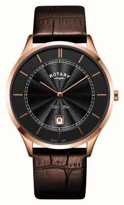 Rotary Mens ультра тонкий розово-коричневый кожаный ремешок GS08404/04