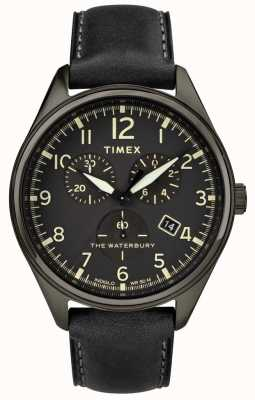 Timex Черная кожа черного черного хроно TW2R88400