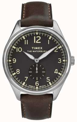 Timex Mens waterbury традиционная черная субдиальная коричневая кожа TW2R88800