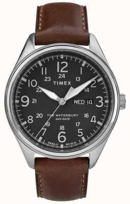Timex Мужская Уотербери традиционный день даты черный коричневый TW2R89000