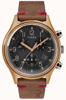 Timex Mens mk1 sst chrono 42mm бронзовый чехол черный коричневый ремешок TW2R96300