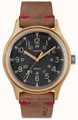 Timex Mens mk1 sst chrono 40mm бронзовый корпус черный циферблат коричневый ремешок TW2R96700