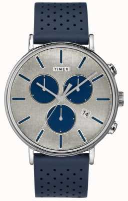 Timex Mens fairfield chrono сверхновой синий ремешок серебристый циферблат TW2R97700