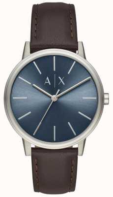 Armani Exchange Мужские часы коричневый кожаный ремешок синий циферблат AX2704