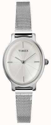 Timex Женские миланские овальные серебряные сетчатые часы TW2R94200D7PF