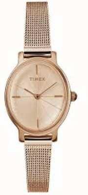 Timex Женские миланные овальные часы из розового золота с сеткой TW2R94300D7PF