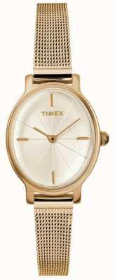 Timex Женские миланные овальные золотые часы TW2R94400D7PF