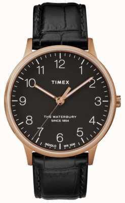 Timex Черные кожаные ремешки из розового золота TW2R96000