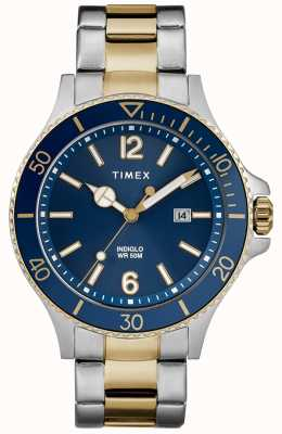 Timex Мужская гавань с двумя оттенками серебристого и золотого браслета с синим циферблатом TW2R64700D7PF
