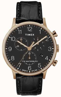 Timex Мужские часы Waterbury Classic из розового золота с черным ремешком TW2R72000D7PF