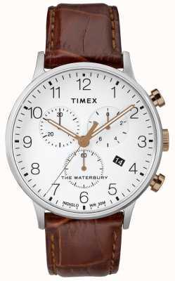Timex Мужские часы Waterbury Classic с хронографом и белым циферблатом TW2R72100D7PF