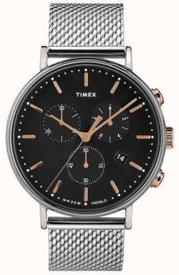 Timex Fairfield хронограф серебристая сетка смотреть черный циферблат TW2T11400D7PF