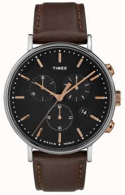 Timex Фейрфилд хронограф коричневый ремешок черный циферблат TW2T11500D7PF