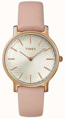 Timex Женские столичные кожаные ремешки из серебра TW2R85200D7PF