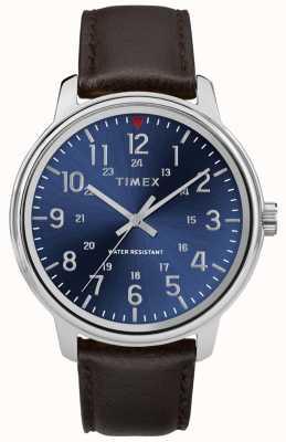 Timex Мужская столичная коричневая кожаный синий циферблат TW2R85400