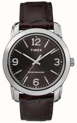 Timex Мужская коричневая кожаный ремешок из черного крокодила TW2R86700