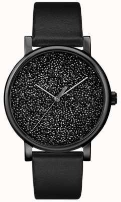 Timex Женские черные кожаные часы с кристаллами Swarovski TW2R95100D7PF