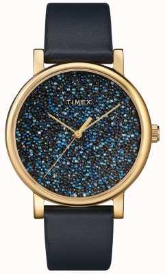 Timex Женские синие кожаные часы с кристаллами Swarovski TW2R98100D7PF