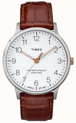 Timex Мужчины классический белый циферблат из воды с ручками из розового золота TW2R95900