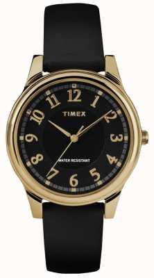 Timex Женские классические черные кожаные ремешки черный циферблат TW2R87100