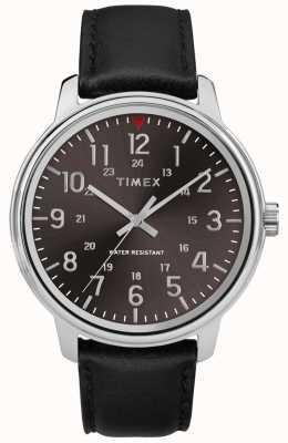 Timex Мужская классическая черная кожа с черным циферблатом TW2R85500