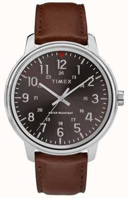 Timex Мужская классическая кожа черного черного циферблата TW2R85700