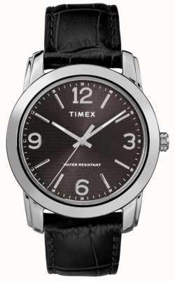 Timex Мужская классическая черная кожа croc strap черный циферблат TW2R86600