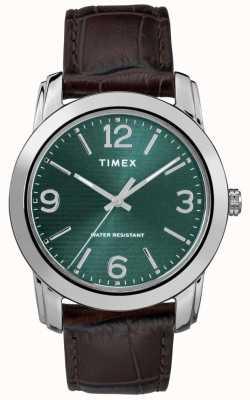 Timex Мужская классическая коричневая кожа croc ремешок зеленый циферблат TW2R86900