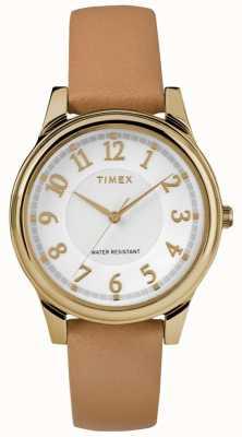 Timex Классический кожаный ремешок для женщин с золотым оттенком TW2R87000