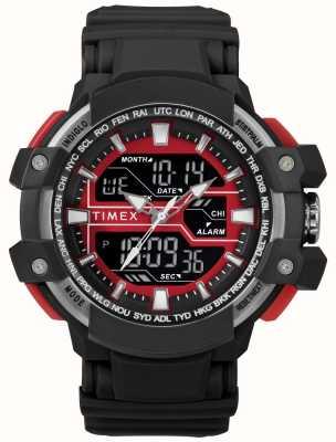 Timex Мужской 50мм черный чехол с красным акцентом черного ремешка TW5M22700