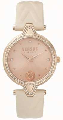 Versus Versace Женская v против каменного набора розового золота циферблат розовый кожаный ремешок SPCI330017