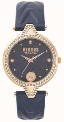 Versus Versace Женские против каменного набора синий циферблат синий кожаный ремешок SPCI340017