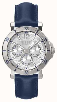 Versus Versace Mens steenberg серебряный циферблат синего кожаного ремешка SP52010018