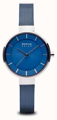 Bering Женский солнечный, солнечный циферблат, серебряный чехол, синий сетчатый ремешок 14631-307