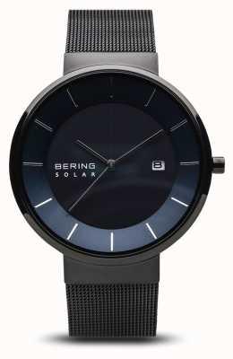 Bering Мужские солнечные часы, синее лицо, черный сетчатый ремешок 14639-227