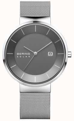 Bering Мужские солнечные часы, серебряный чехол, сетчатый ремень из нержавеющей стали 14639-309