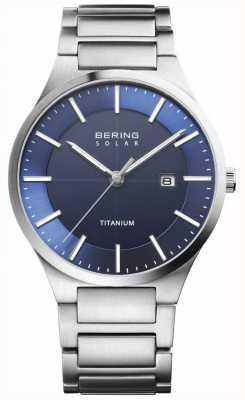 Bering Мужская солнечная синяя грань серебряного титанового ремешка 15239-777