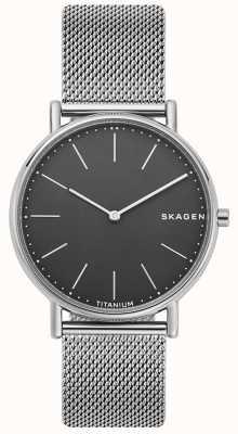 Skagen Мужская статуэтка из нержавеющей стали сетчатый браслет черный циферблат SKW6483