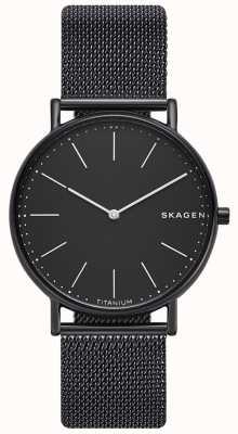 Skagen Мужская статуэтка из нержавеющей стали черный сетчатый браслет черный циферблат SKW6484