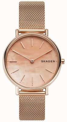 Skagen Дамы signatur розового золота браслет из нержавеющей стали розовый циферблат SKW2732