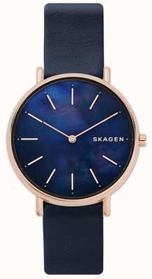 Skagen Дамы синего кожаного ремешка с перламутровым лицом SKW2731