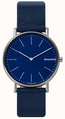 Skagen Мужская сигнальная синяя кожаный ремешок титановый чехол синяя сторона SKW6481
