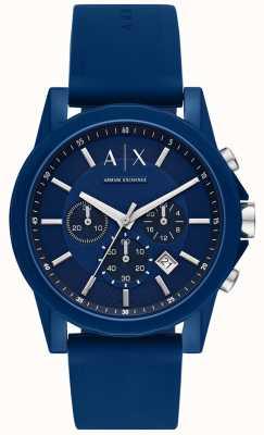 Armani Exchange Мужские спортивные часы подарочный набор | синий силиконовый ремешок | AX7107