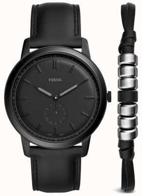 Fossil Мужской минималистский набор для часов с черным кожаным ремешком FS5500SET