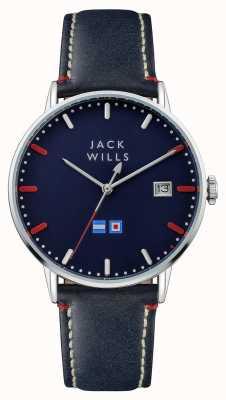 Jack Wills Резиновый синий кожаный ремешок для мужчин batson JW002BLSS