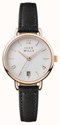 Jack Wills Женский белый медленный циферблат с черным кожаным ремешком JW006BKRS