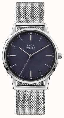 Jack Wills Mens fortescue синий циферблат из нержавеющей стали сетчатый браслет JW011SSBL